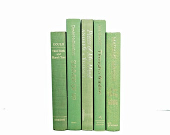 Spring Green Books, Decorative Books, rustic lime Book Set, Old Book Decor, Wedding Decor, BOok Collection, Instant LIbrary, home decoration