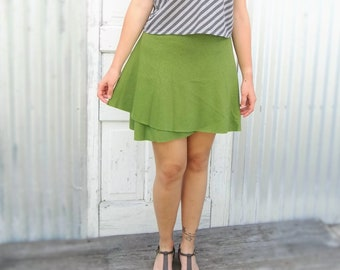 Hemp and Organic Cotton Wrap Miniskirt - Cute Comfortable Versatile Breathable Spring and Summer Skirt - Yana Dee - Ethical Apparel