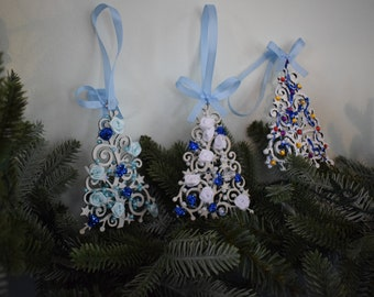 Set of 3 handmade Christmas tree ornaments.