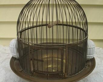 Vintage Leon Brass Birdcage 1930's ~ Bee Hive Birdcage