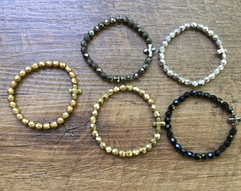 Delicate Sparkle- gold, silver, pewter or black sideways cross