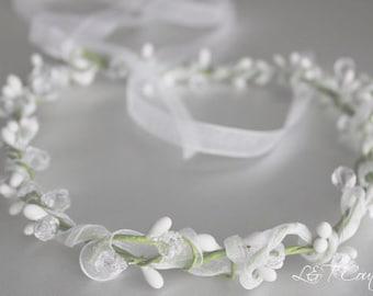 Wedding Headpiece, Flowergirl Headband, Wedding Rustic Bridal Wreath with Pink Flowers, Crown, Bridesmaids Hair Wreaths, Bohemian Boho Hair