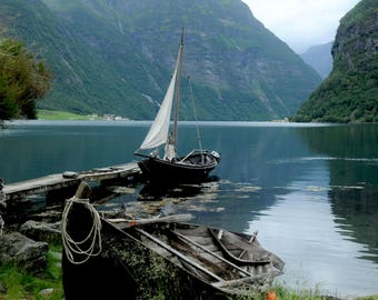 Fjord and boat.