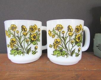 Milk Glass Coffee Mugs Vintage Glasbake Yellow Buttercup Mugs