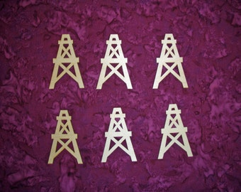 Oil Well Shape Wood Cut Out Unfinished Wooden Derrick 6 Pieces
