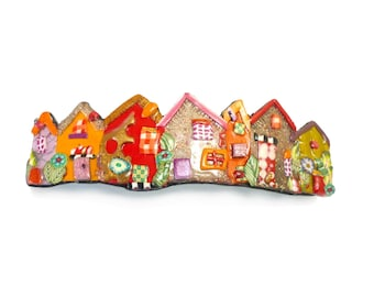 Little houses hair Barrette, colorful Village hair clip, red orange pink handmade polymer clay French barrette, Made in France hair pin 70mm
