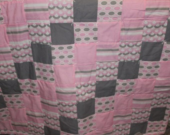 Pink and gray modern quilt