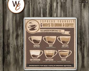 Drink Coaster, Espresso, 6 Ways To Drink A Coffee, Cafe Latte, Mocha, Breve, Americano, Espresso Recipes, Housewarming Gift, Made To Order