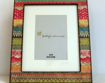 11x14 8x10 Mat Wood Photo Frame Bright Colorful Lace