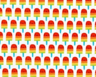Suzy's Mini's, Mini Red Popsicles on White cotton woven fabric