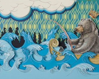 BEARFISHER, bear, fishing, pop surrealism, lowbrow art, illustration, Leif Erik Johansen, new contemporary, light box, paper cutting, paper