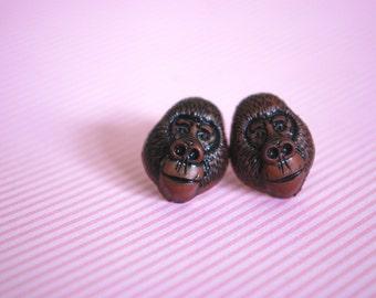 Gorilla Earrings -- Brown Gorilla Studs, Monkey Jewelry, Monkey