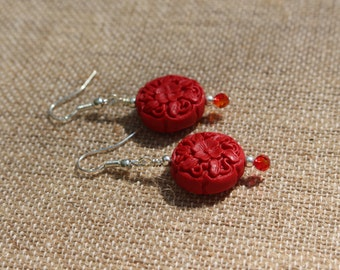 Cinnamon Fire-Red Cinnabar and Ombre Swarovski Crystal Silver Dangle Earrings