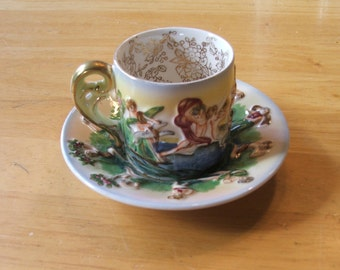 SEA and Woodland NYMPHS Demitasse  Cup and Saucer Occupied JAPAN Romantic