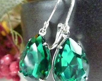 Emerald Green Earrings Teardrop Drop Vintage Estate Style Earrings May birthstone