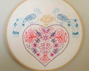 Folk Art Bird Valentine Heart 8 inch Hoop Art