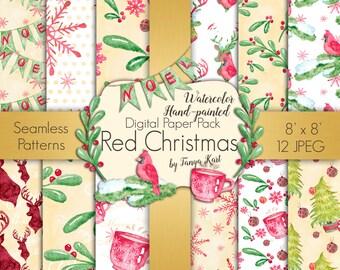Watercolor Digital Paper, Holidays Digital Paper , Christmas  Paper, Winter Digital Paper, Red Christmas Paper, Scrapbook Paper Pack