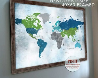 Large custom pins etsy more colors world map poster framed gumiabroncs Choice Image