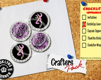Browning Inspired - Crafters Pack - Set of 4 Flattened Bottle Caps - For Crafting, Hair Bows, Pendants, Magnets