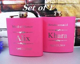Pink Bridesmaid Flask ~With Free Engraving~