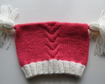 Coral Baby Hat with Contrast Cream Rib and Tassels