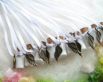 Baptism Party Favors, Fairy Sparkles Bronze Wing Remembrance Small Gift, Keepsake Memorial Communion Quinceanera Birth Announcement
