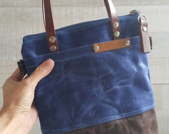 MiNi WAXED CANVAS TOTE in Blue and Brown ZiPPERED, Unisex, Small Bag, Work Bag, School Bag, Leather Straps, Mini Tote, Small Tote, medium