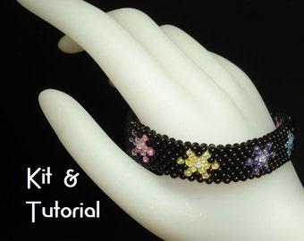 "Kit and tutorial - ""StarLite Mini Flowers"" odd count peyote bracelet"