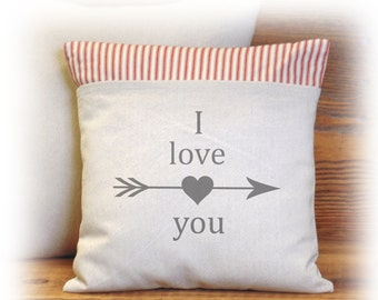 I Love You, I Love Us, Sweetheart, Valentines, Pillow Cover, Heart Pillow, Arrow