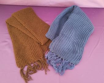 2 vintage hand knit scarves
