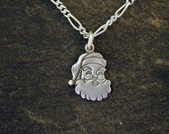 Sterling Silver Santa Claus Pendant on a Sterling Silver Chain