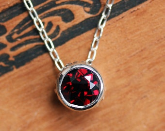 Red garnet necklace, solitaire necklace, January birthstone necklace, bezel necklace, birthday gift for her, recycled ready to ship, wrought