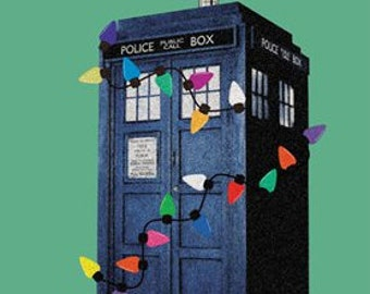 Tardis  Doctor Who Christmas Card Inspired Hand Drawn  Fan Art Blank Card
