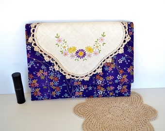 Embroidered vintage doily purse, ooak envelope style clutch, lingerie bag,