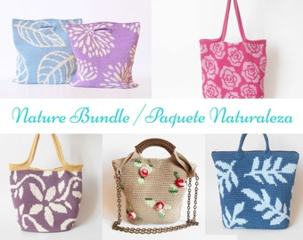 Nature Crochet Pattern Bundle, DIY crochet bags, Crochet Pattern Bundle, Tapestry Crochet