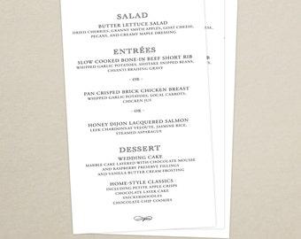 Monogram Wedding Reception Dinner Menu - Modern Menu Card - Monogram - Personalized Wedding Menu Card - Custom Colors Available