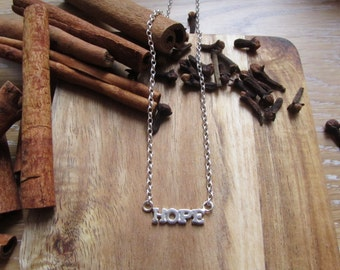 Sterling silver hope necklace-Hope jewelry-Small hope charm necklace