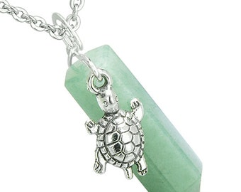 Amulet Turtle Lucky Charm Crystal Point Green Quartz Pendant 18 Inch Necklace