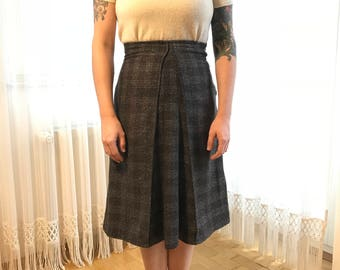 40s style Skirt with kick pleat brown wool sz XS