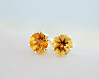 Real Citrine Stud Earrings, Child Children Girl, AAA, Genuine Gemstone, 4mm, Sterling Silver Post, November Birthstone Jewelry