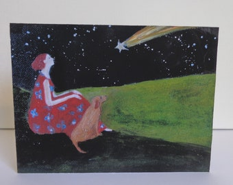 Brown Dog and The Comet,6x8 inch fine art  print mounted  on 1.5 inch deep block panel, ready to stand or hang, dogs, dog lovers, dog art