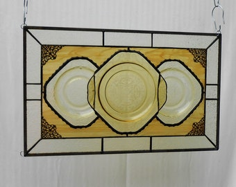 Stained Glass Transom Window, Depression Glass Madrid Stained Glass Window Panel, 1930 Stained Glass Valance,  Antique Window, Vintage Plate
