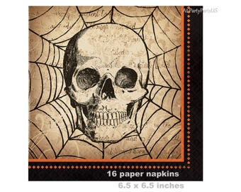 scary skull napkins, Halloween party decorations, creepy spider web, spooky Halloween supplies, skeleton, orange and black, paper tableware