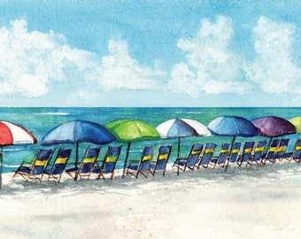 Beach Umbrellas Limited Edition Watercolor painting