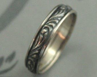 Men's Wedding Band Women's Wedding Ring Silver Band Silver Ring Florence Wide Band Vintage Style Ring Vintage Style Band Swirl Ring