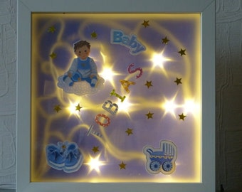 Illuminated picture frame for christening or birth