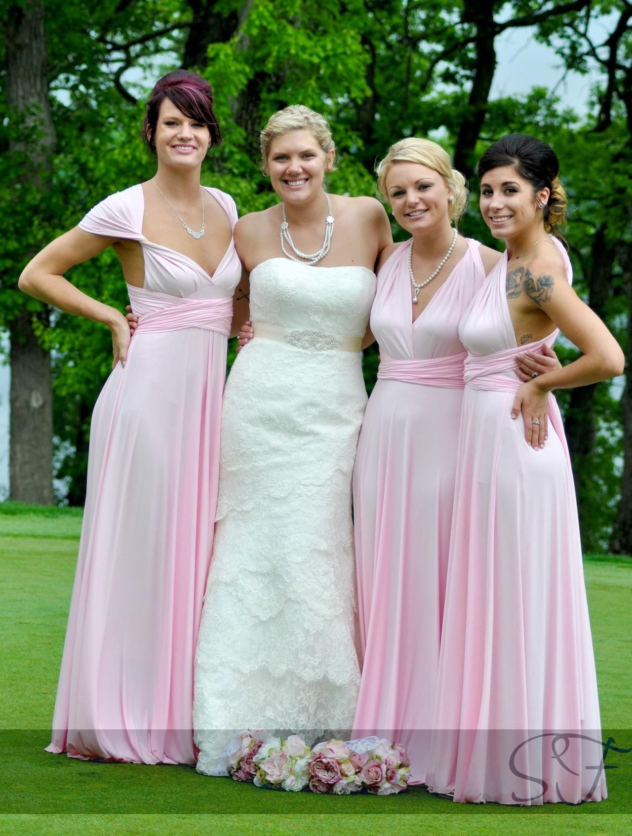 Baby Pink Bridesmaid dress infinity dress convertible dress