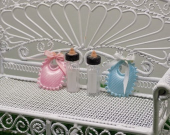 Miniature Baby Bibs With Bottle 1:12 Scale 1/12 Scale