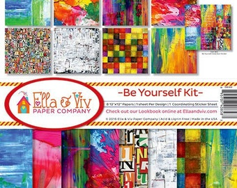 BE YOURSELF by Ella & Viv 12x12 Scrapbook Paper Kit 1 Sticker Mixed Media Backgrounds EAV-858