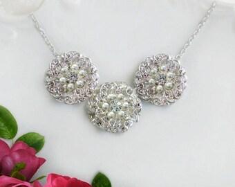Bridesmaid necklaces, bridesmaids jewelry, Bridesmaids Gift, pearl necklace, wedding necklace, Bridal jewelry, statement necklace, bridal